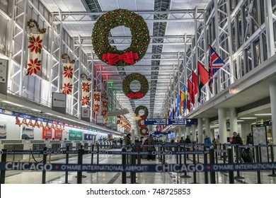 CHICAGO, USA - DECEMBER 20, 2016: Christmas decorations on Chicago O'Hare International Airport