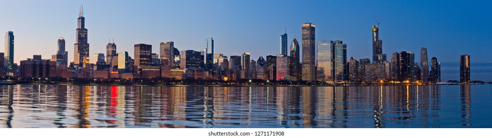Chicago, USA - December 31, 2018: Panoramic view of the skyline of Chicago at night.