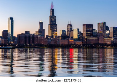 Chicago, USA - December 31, 2018: View of the Chicago skyline at night.