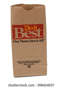 CHICAGO, USA - FEBRUARY 16, 2016: Do It Best paper bag isolated white. Do It Best is name of construction store in Chicago.