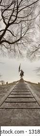 Chicago, USA - February 20, 2019: General John Logan Monument in Grant Park, Chicago.