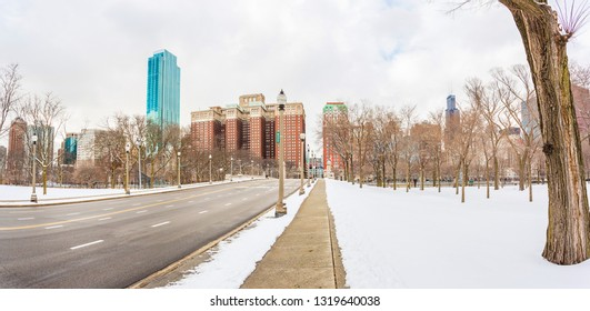 Chicago, USA - February 21, 2019: View of Grant Park in Chicago during the Winter.