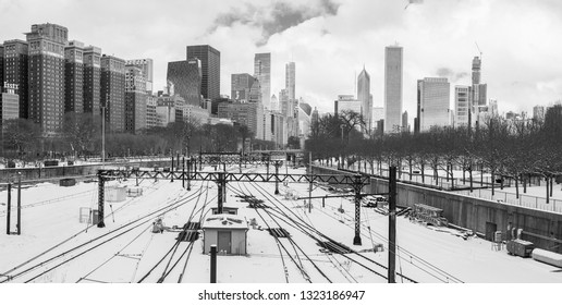 Chicago, USA - February 25, 2019: Beautiful view of the Chicago railroad and skyscrapers.