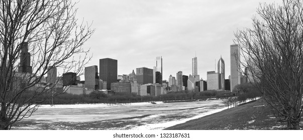 Chicago, USA - February 25, 2019: Winter views of Grant Park with the Chicago skyline in the background.
