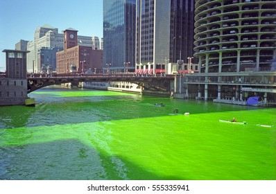 CHICAGO, USA - FEBRUARY 25: Chicago River painted green on 25 February 1998 at New York, USA. The Irish community paint the river green for St. Patrick's Day.