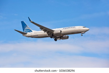 Chicago, USA - February 28, 2018: Boeing 737 Copa Airlines landing at O'Hare International Airport. Copa Airlines is the flag carrier of Panama.