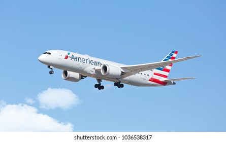 Chicago, USA - February 28, 2018: An American Airlines Boeing 787-800 aircraft landing at O'Hare International Airport.