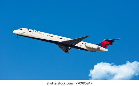 Chicago, USA - January 10, 2018: A Delta Air Lines MD-80 aircraft landing at O'Hare International Airport.