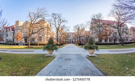 Chicago, USA - January 5, 2018: Panoramic views around the University of Chicago.