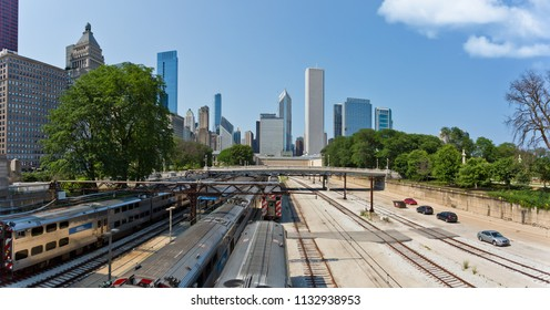Chicago, USA - July 12, 2018: Beautiful aerial view of the Chicago railroad and skyscrapers.