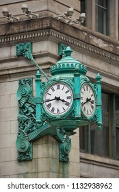 Chicago, USA - July 12, 2018: Chicago Marshall Field's Clock in downtown.