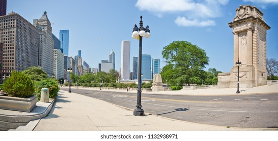 Chicago, USA - July 12, 2018: Chicago  buildings from Grant 's Park.