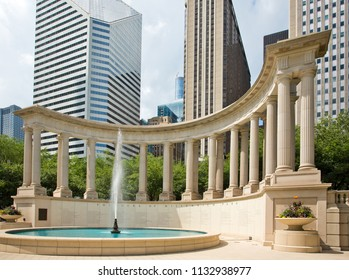 Chicago, USA - July 12, 2018: Wrigley Square fountain and Millennium Monument in Chicago. Wrigley Square is an attraction located in Millennium Park, opened in 2004.