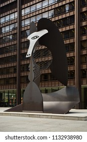 Chicago, USA - July 12, 2018: The Pablo Picasso sculpture located in Daley Plaza.