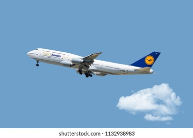 Chicago, USA - July 12, 2018: A Lufthansa Boeing 747-800 displaying the Five Star Hansa livery landing at O'Hare International Airport.