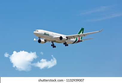 Chicago, USA - July 12, 2018: Alitalia airlines of Italy Airbus A330 aircraft landing at O'Hare International Airport.
