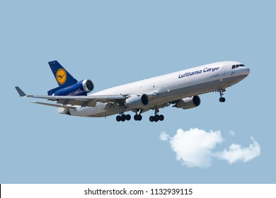Chicago, USA - July 12, 2018: A Lufthansa Cargo MD11 landing at  O'Hare International Airport.