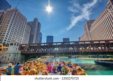 Chicago, Usa - July 15, 2017: Chicago Water Taxi in downtown Chicago on July 15, 2017. The Chicago River serves as the main link between the Great Lakes and the Mississippi Valley waterways.