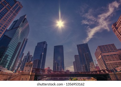 Chicago, Usa - July 15, 2017: Detail of modern skyscrapers in Chicago, Illinois, USA. Backlighting