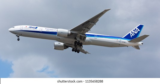 Chicago, USA - July 16, 2018: All Nippon Airways (ANA) Boeing 777-300 on final approach to O'Hare International Airport.