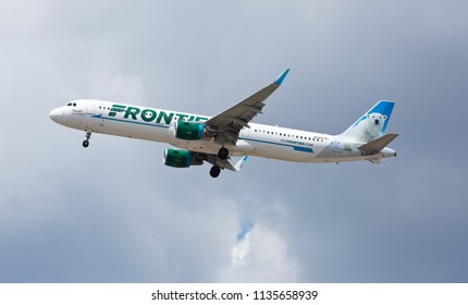 Chicago, USA - July 16, 2018: Frontier Airlines Airbus A321 with the Polar Bear livery approaching O'Hare International Airport.