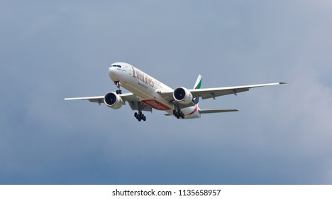 Chicago, USA - July 16, 2018: Emirates Boeing 777-300 landing at O'Hare International Airport.