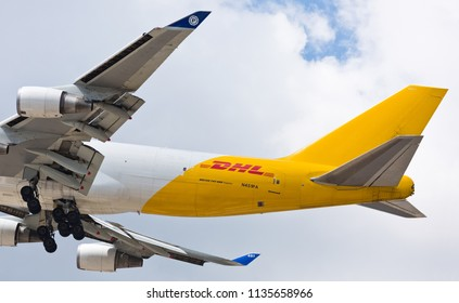Chicago, USA - July 16, 2018: Polar DHL Boeing 747 aircraft on final approach at O'Hare International Airport.