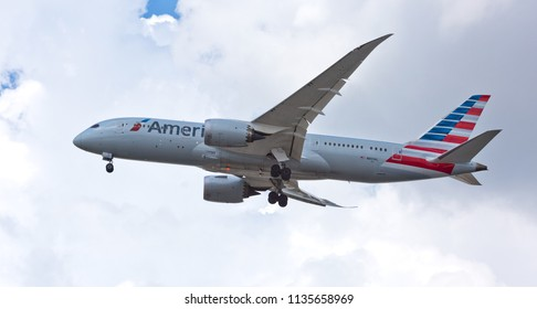 Chicago, USA - July 16, 2018: An American Airlines Boeing 787 aircraft landing at O'Hare International Airport.