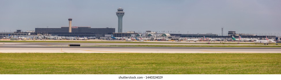Chicago, USA - July 2, 2019: Panoramic view of Chicago's O'Hare International Airport.