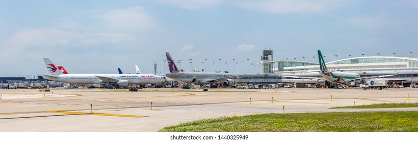 Chicago, USA - July 2, 2019: Panoramic view of Chicago's O'Hare International Airport from the tarmac.