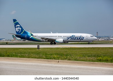 Chicago, USA - July 2, 2019: Alaska Airlines Boeing 737 aircraft at O'Hare International Airport.