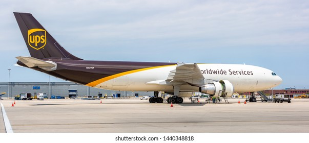 Chicago, USA - July 2, 2019: United Parcel Service UPS Airbus A300 aircraft. United Parcel Service, Inc., UPS, is the world's largest package delivery company.