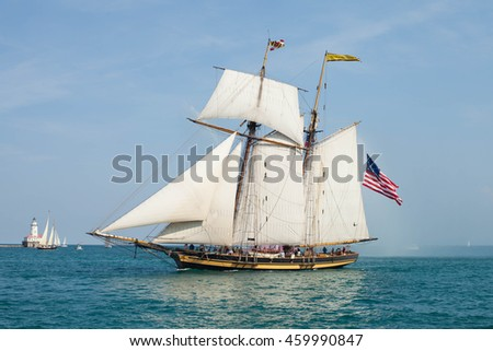CHICAGO, USA - JULY 27, 2016: PEPSI TALL SHIPS CHICAGO 2016. Parade of Sail at Navy Pier. Pride of Baltimore II  -  Topsail Schooner