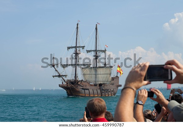 CHICAGO, USA - JULY 27, 2016: PEPSI TALL SHIPS CHICAGO 2016. Parade of Sail at Navy Pier. El Galeon Andalucia  with people arms