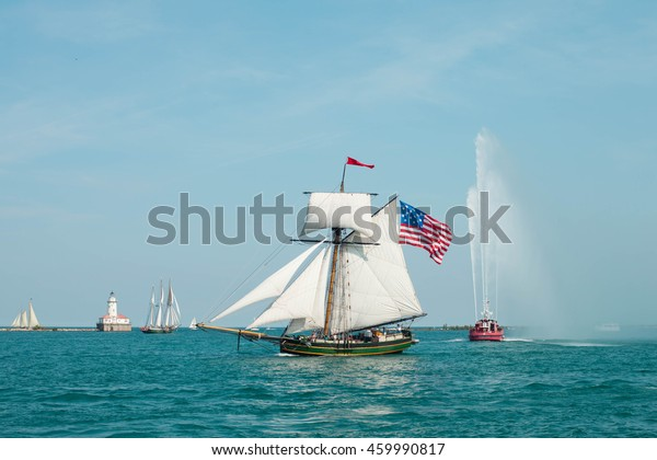 CHICAGO, USA - JULY 27, 2016: PEPSI TALL SHIPS CHICAGO 2016. Parade of Sail at Navy Pier. Friends Good Will  -  Square Topsail Sloop