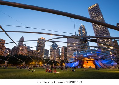 Chicago, USA - July 9, 2014: Jay Pritzker Pavilion in Millenium Park at dusk on a hot summer's night