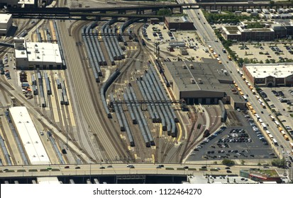Chicago, USA - June 04, 2018: Trains on the BNSF Railroad Yard/Metra top view