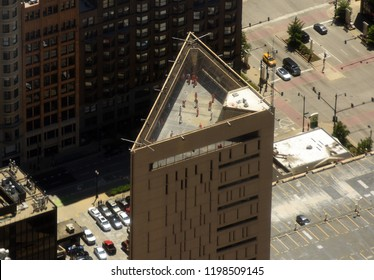 Chicago, USA - June 04, 2018: Top view on the Metropolitan Correctional Center, Chicago (MCC Chicago, Federal Bureau of Prisons) is a United States federal prison in Chicago, Illinois.