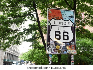Chicago, USA - June 06, 2018: Historic Route 66 Begin Sign in Chicago, Illinois.