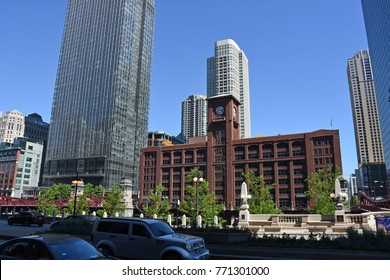 Chicago, USA - June, 17, 2016: downtown of Chicago with traffic and people