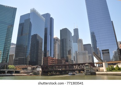 Chicago, USA - June, 17, 2016: river and cityscape of Chicago
