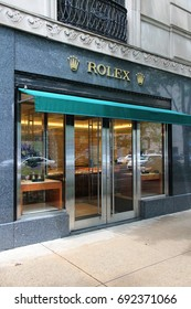 CHICAGO, USA - JUNE 26, 2013: Rolex watch store at Magnificent Mile in Chicago. The Magnificent Mile is one of most prestigious shopping districts in the United States.