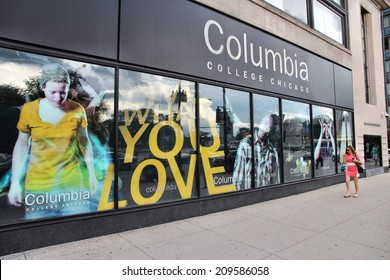 CHICAGO, USA - JUNE 27, 2013: Person walks past Columbia College in Chicago. It is a higher education institution specializing in arts and media. It has 10,142 students (2014).