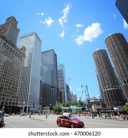 CHICAGO, USA - JUNE 28, 2013: People visit downtown in Chicago. With 2.7 million residents, Chicago is the 3rd most populous city in the USA.