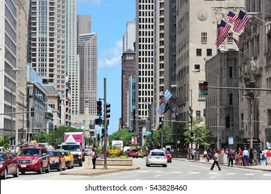CHICAGO, USA - JUNE 28, 2013: People drive in downtown Chicago, USA. Chicago is the 3rd most populous US city with 2.7 million residents (8.7 million in its urban area).