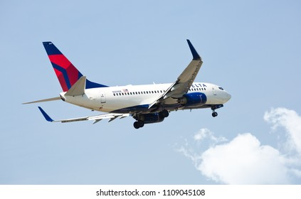 Chicago, USA - June 9, 2018: A Delta Air Lines Boeing 737 aircraft landing at O'Hare International Airport.