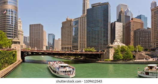 Chicago, USA - June 9, 2018: Chicago loop buildings and its bridges by the Chicago River.