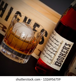 Chicago, USA - March 1, 2019: A bottle of Booker's Bourbon. Booker's is a rare barrel-strength bourbon, bottled uncut and unfiltered. Booker's distillery is located in the heart of Kentucky.