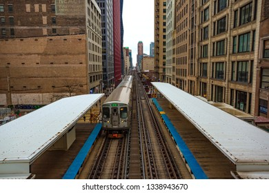 Chicago, USA - March 13, 2019: Chicago L Train tracks in the loop area of Chicago.