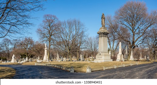 Chicago, USA - March 14, 2019: Views of Graceland Cemetery. Graceland Cemetery is a large Victorian era cemetery located in the north side community area of Uptown, in the city of Chicago.